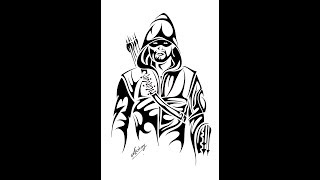 How to draw ARROW [Stephen Amell] From ( CW TV Series Arrow) DC Comic character - tribal art