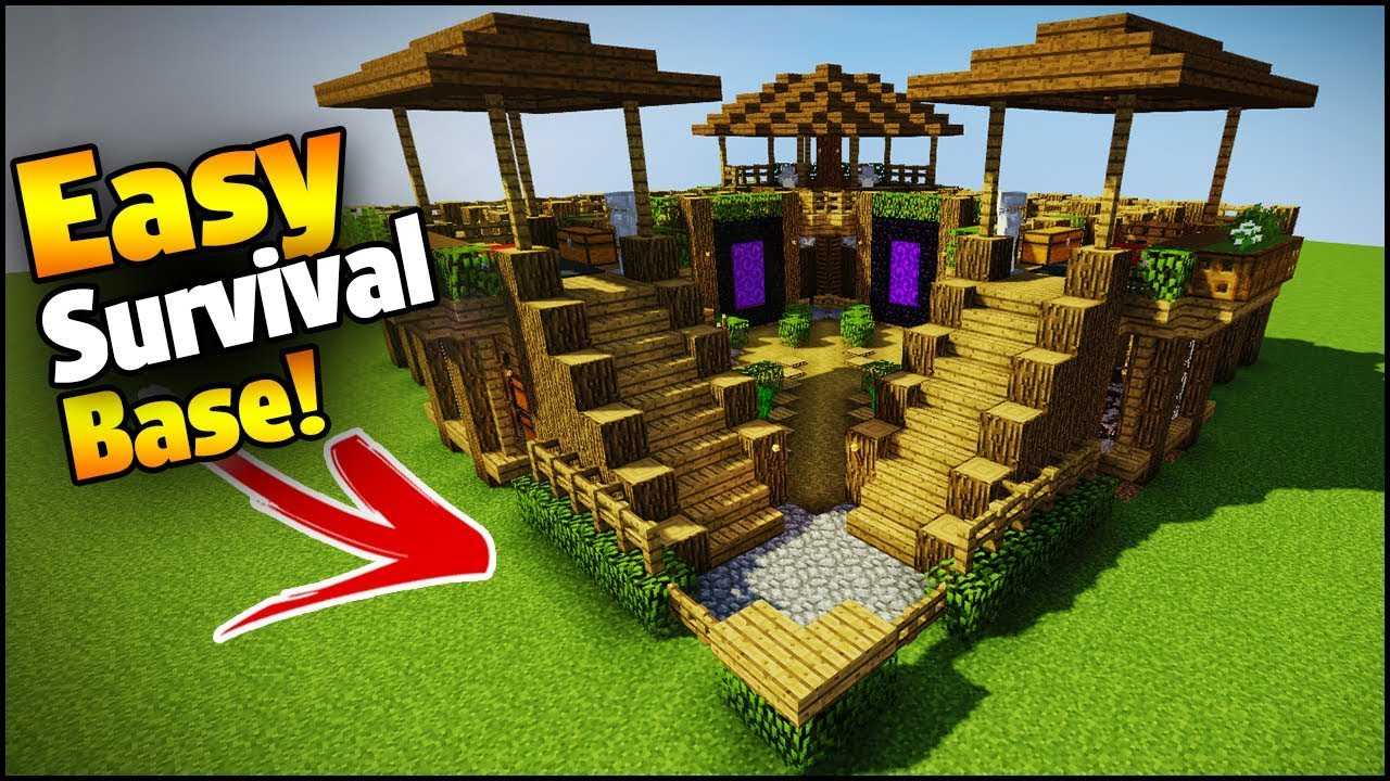Minecraft 3 player ultimate survival base easy tutorial for What do u need to build a house
