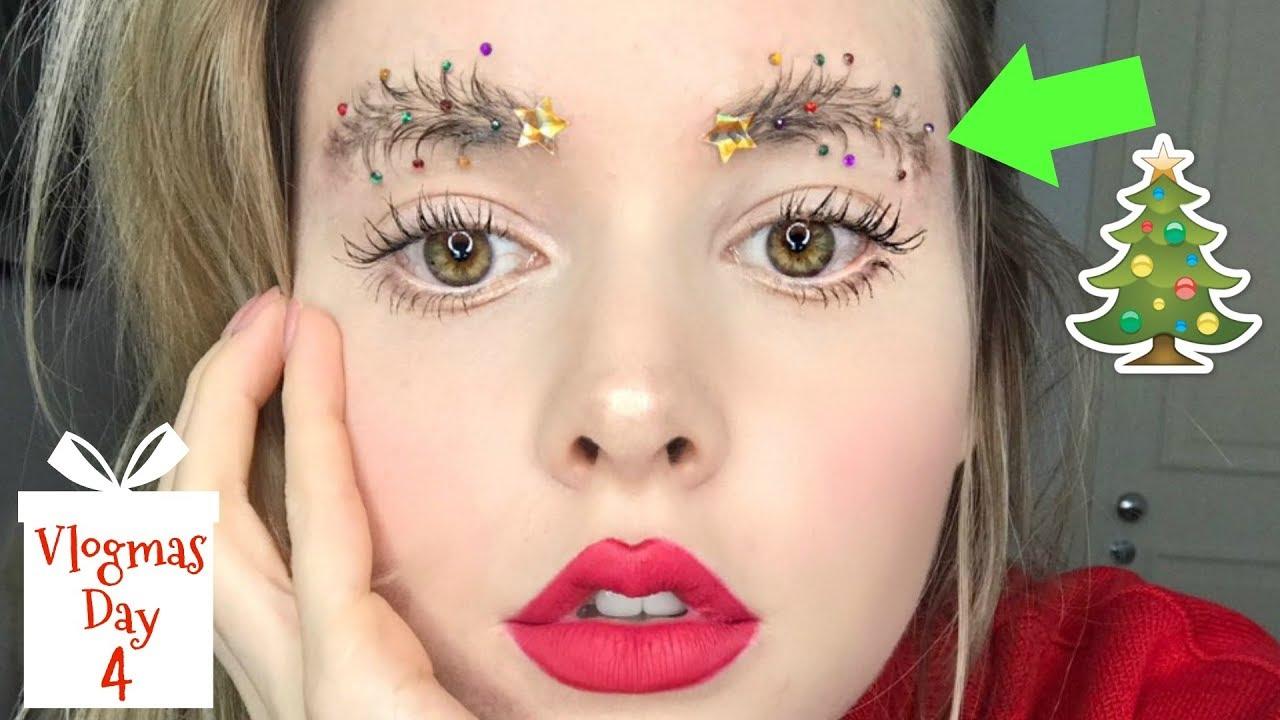 Christmas Tree Eyebrows.I Tried To Create Christmas Tree Eyebrows Vlogmas Day 4