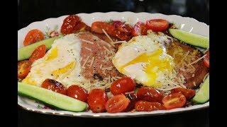 Лёгкий, быстрый завтрак - Яичница с помидорами!