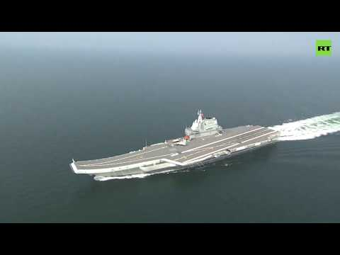 Chinese aircraft carrier on the way to South China Sea