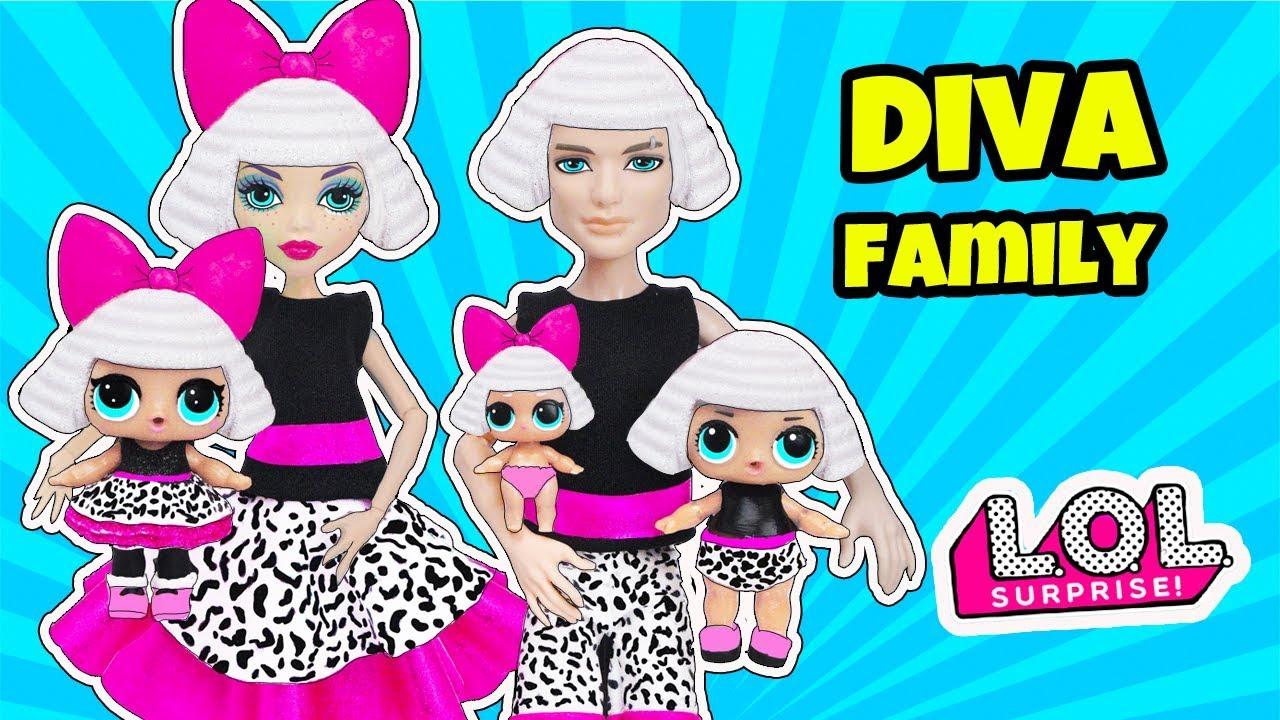 Diva Family Lol Surprise Cartoon With Custom Craft Diy Dolls For