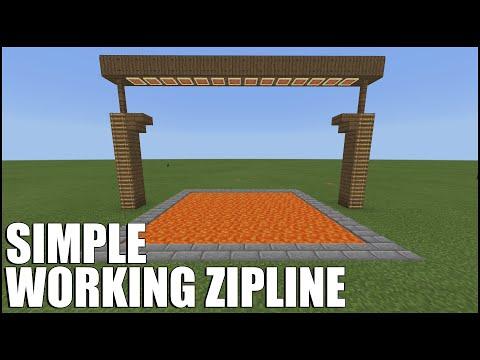 How To Build A WORKING Zipline In Minecraft Bedrock! (NO Mods/Command Blocks/Redstone)
