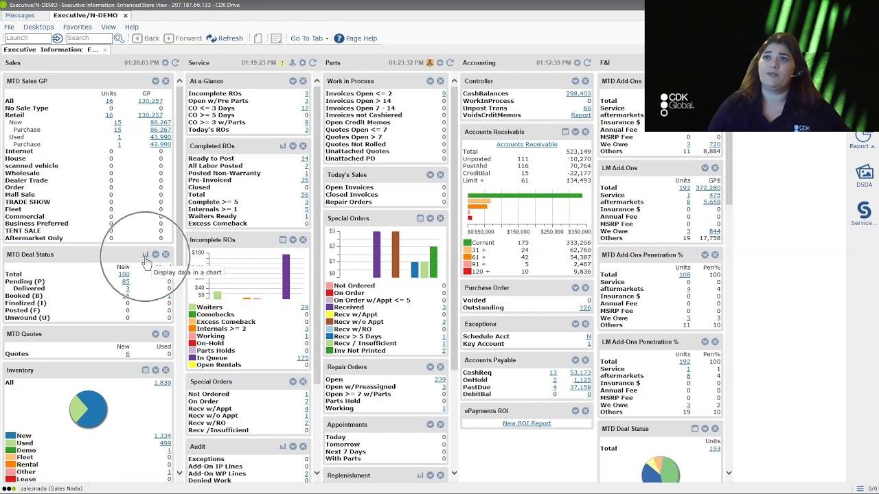 CDK Drive Executive Desktop – Basic and Enhanced Store View