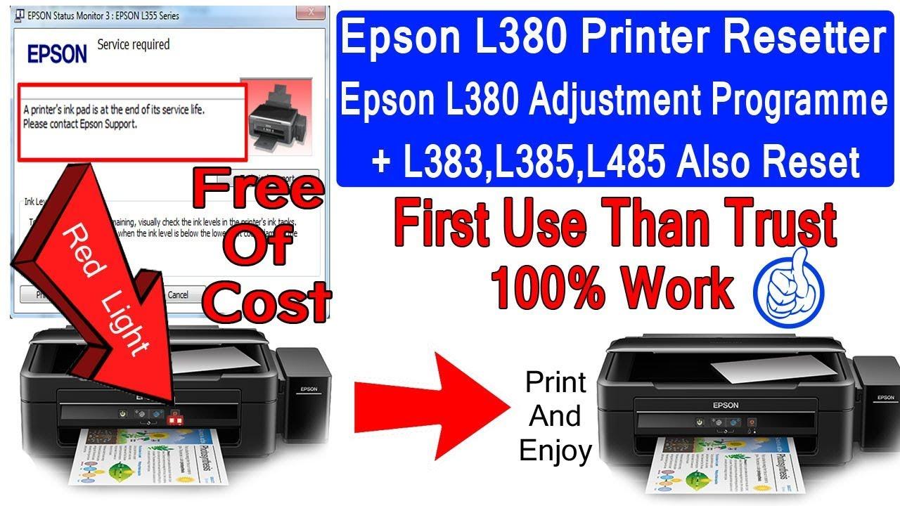 Epson L380 And L383 L385 L485 Inkpad Resetter ADJUSTMENT PROGRAM