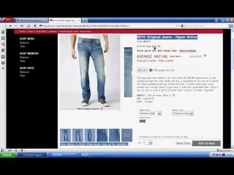 Как купить джинсы Levis 501 в интернет магазине.