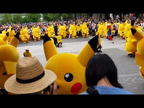 20 Pikachu Mascots in Yokohama saying Hello