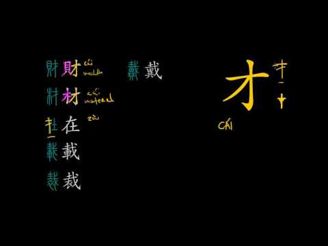 Understanding Chinese Characters - Introductory lecture. 才 phonetic series explained.