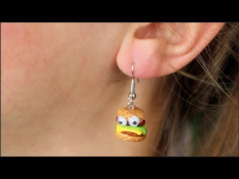 How to Make Polymer Clay Burger Earrings Kid's Craft