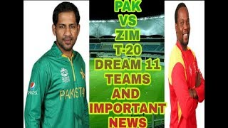vuclip ZIM vs PAK 1st T20 Match Dream11 Fantasy Cricket team- Australia and Pakistan in Zimbabwe T20I Tri-S