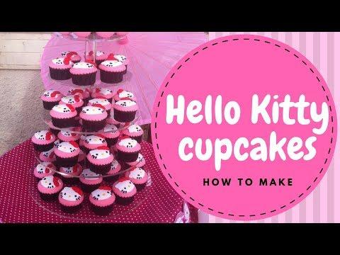 【Hello Kitty】Hello Kitty Cupcakes Tutorial (2 mins)    Irma's Fondant Cakes