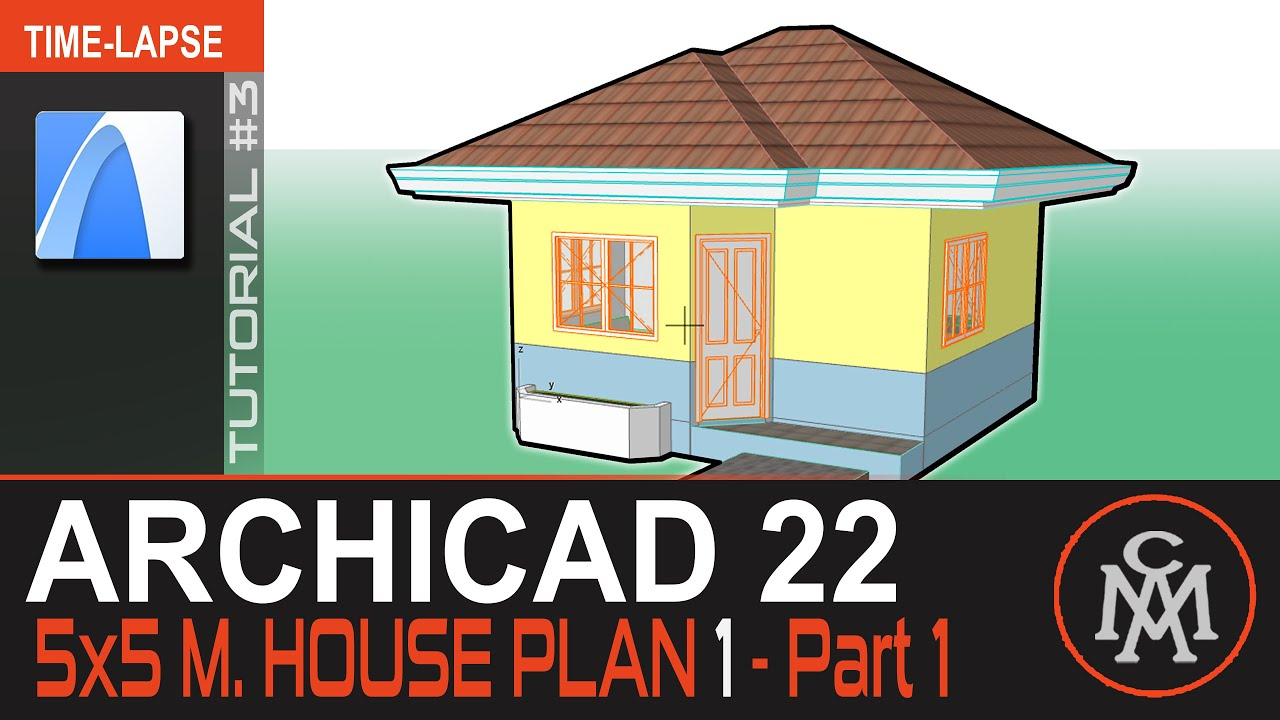 Archicad 22 Modeling Tutorial - 5x5 m  House Plan #01   Part 1