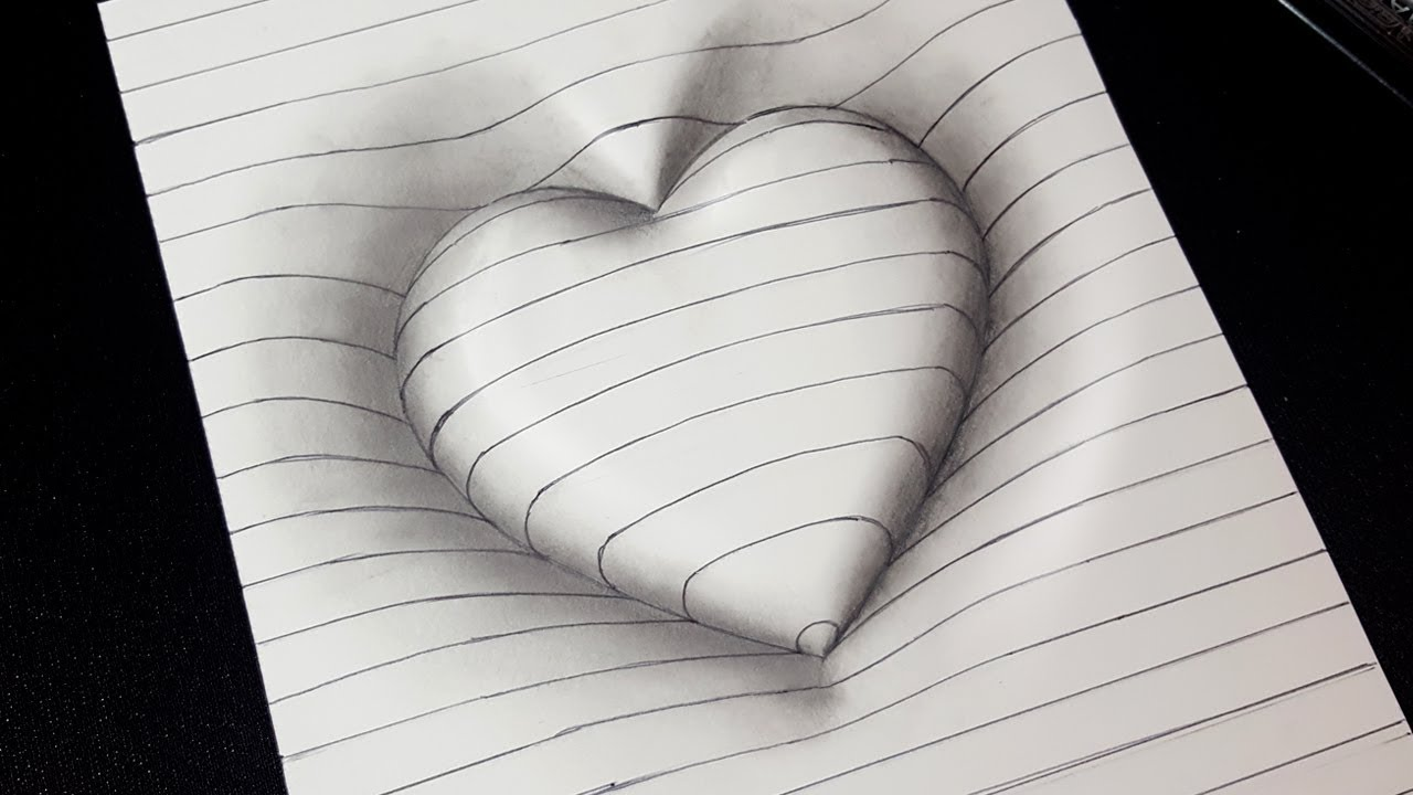 Easy drawing how to draw 3d heart with lines 3d trick art for kids