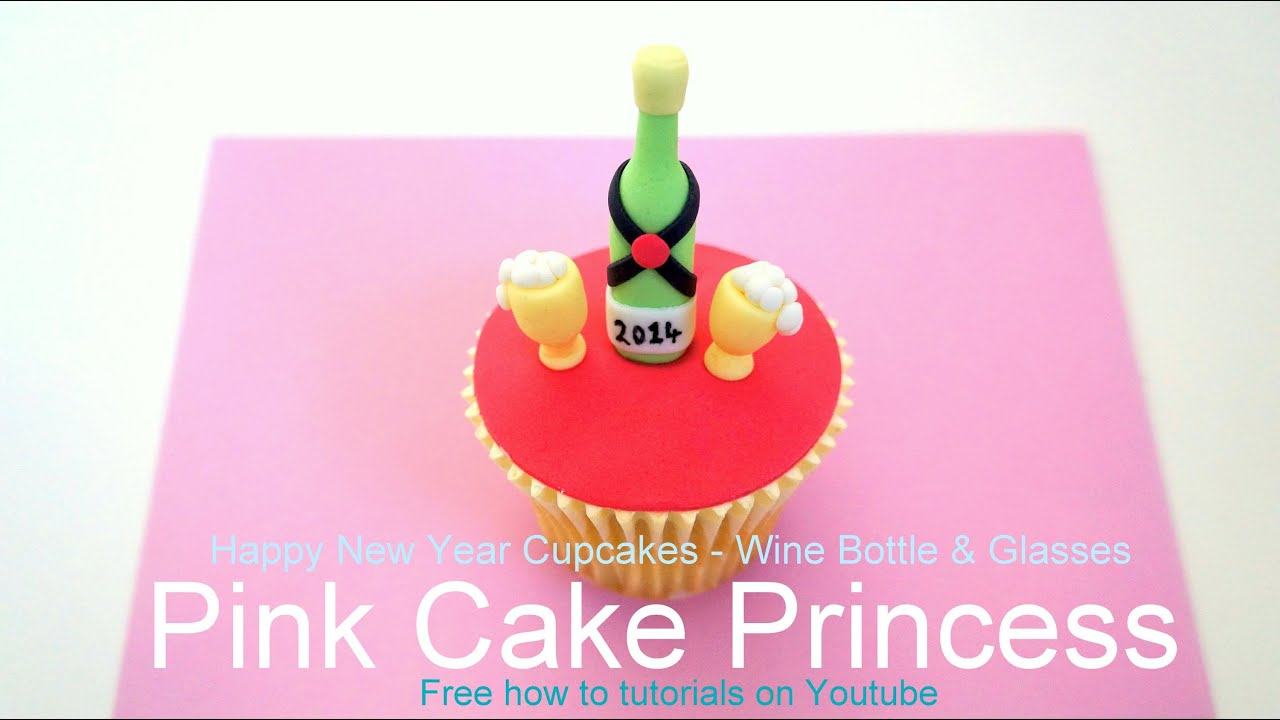 How-to make Happy New Year Cupcakes - Wine Bottle & Glasses Cupcake ...