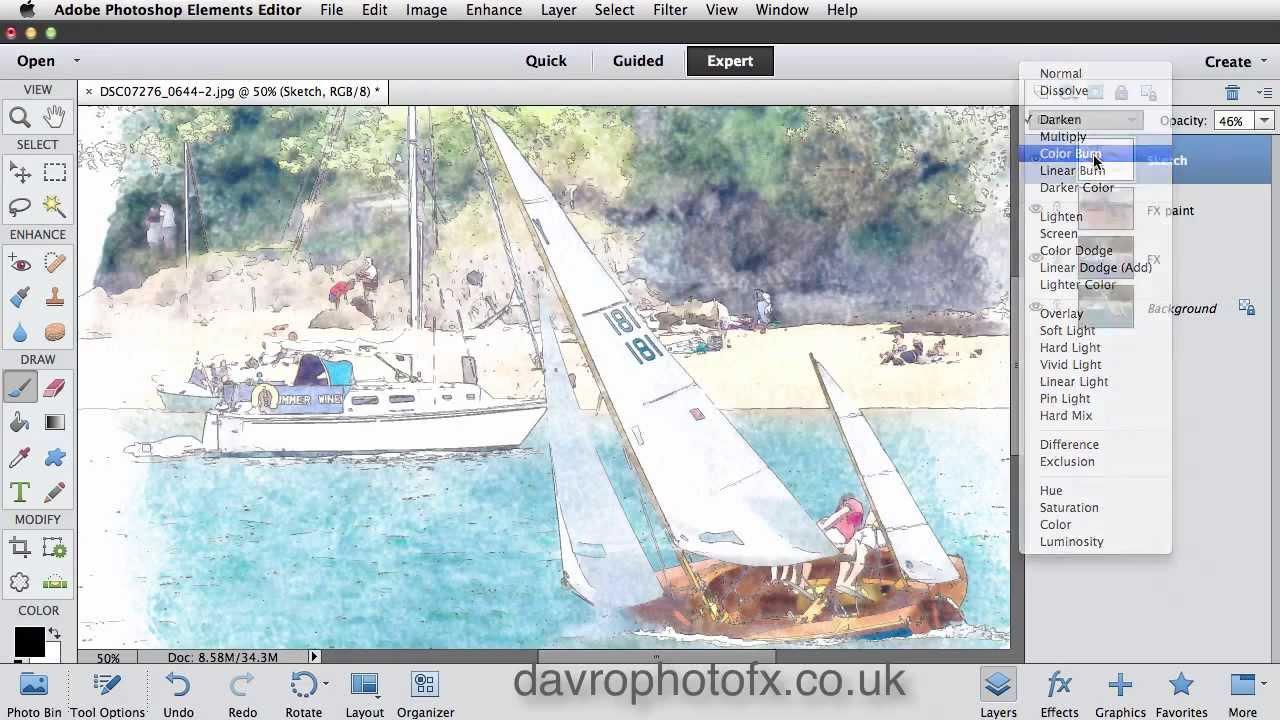 Watercolour effect Photoshop Elements