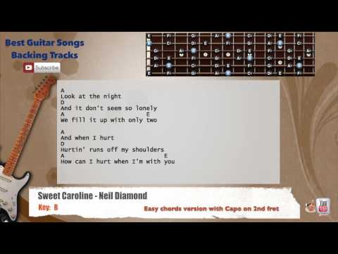 Sweet Caroline - Neil Diamond Guitar Backing Track with scale, chords and lyrics