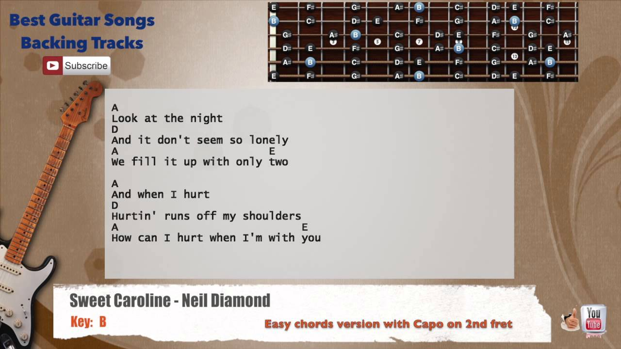 Sweet Caroline Neil Diamond Guitar Backing Track With Scale