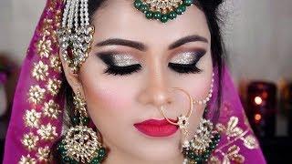 INDIAN BRIDAL Makeup| MUSLIM Bride Gold & Black Eyes Tutorial In Hindi