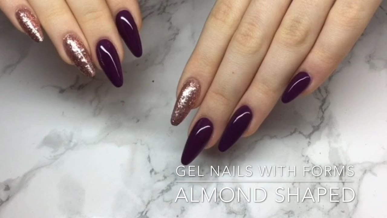 Almond Shaped Gel Nails With Forms - Crispynails ♡ - YouTube
