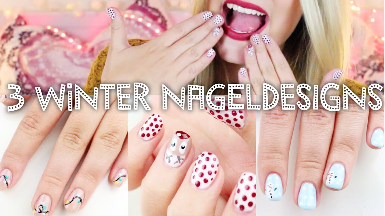 3 schöne WINTER Nageldesigns ♡ #BEEcember ❄ | Dagi Bee - YouTube