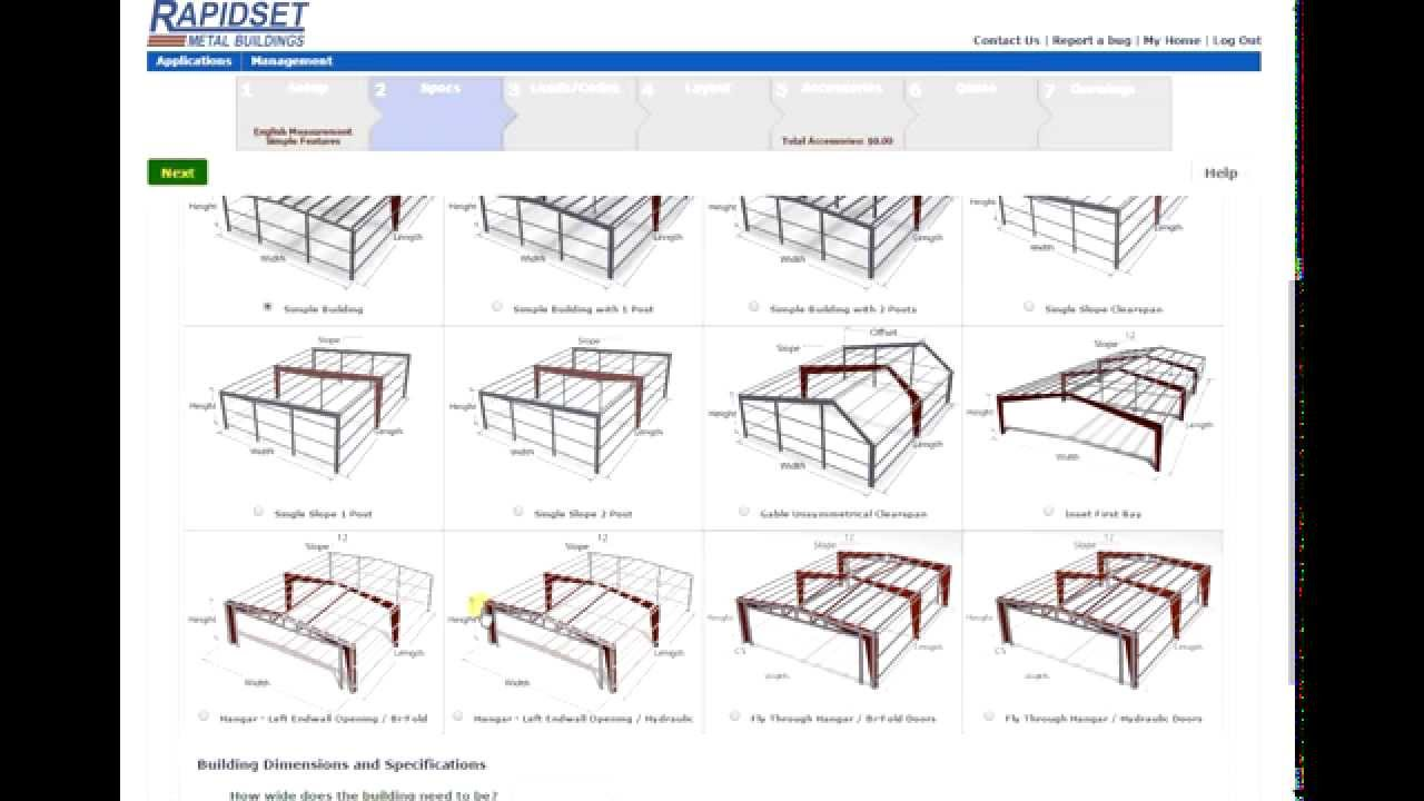 Rapidset metal buildings online design price and print for Online building design tool