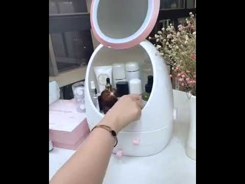 Caserano™ LED HD Mirror Makeup Storage Box Cosmetic Organizer Case