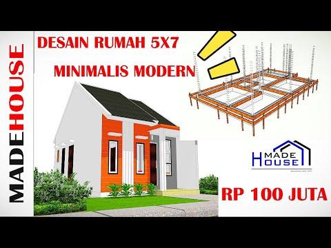 desain rumah minimalis sederhana 5x7 meter tropis modern