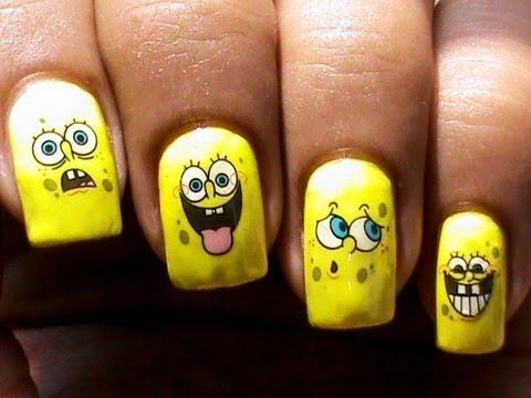 Spongebob Nail Art Designs No Drawing Cute Nail Designs Youtube