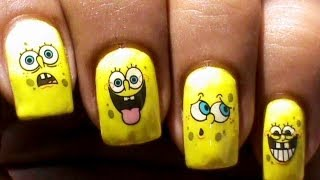 Spongebob Nail Art Designs: NO DRAWING!!  *Cute nail designs*