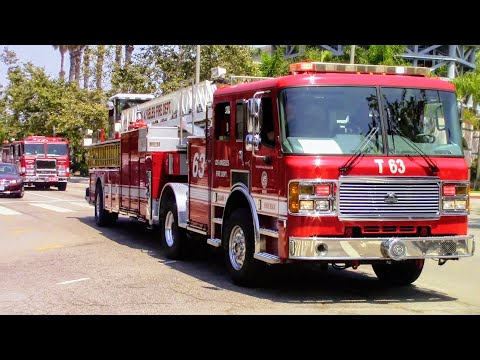 Los Angeles Fire Dept. Light Force 63 Responding (w/ Airhorn)