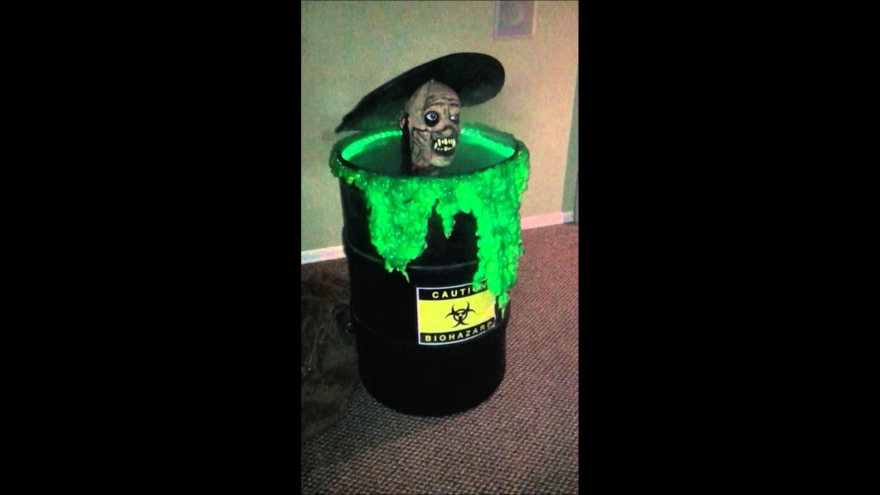 homemade halloween zombie biohazard pneumatic animatronic pop up barrel can in buffalo ny