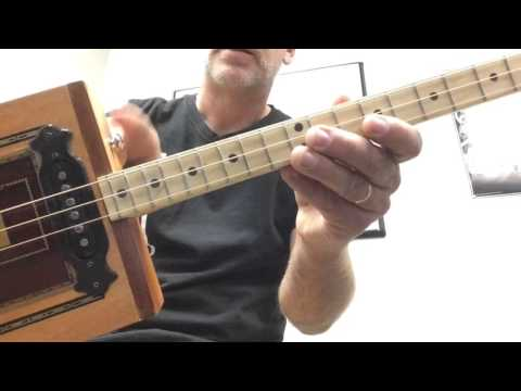 "3 String Cigar Box Guitar with ""Strat Style Headstock"""