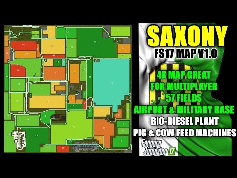 "Farming simulator 17 - Saxony Map For FS17 v1.2.0 (Updated) ""Map Mod Review"""