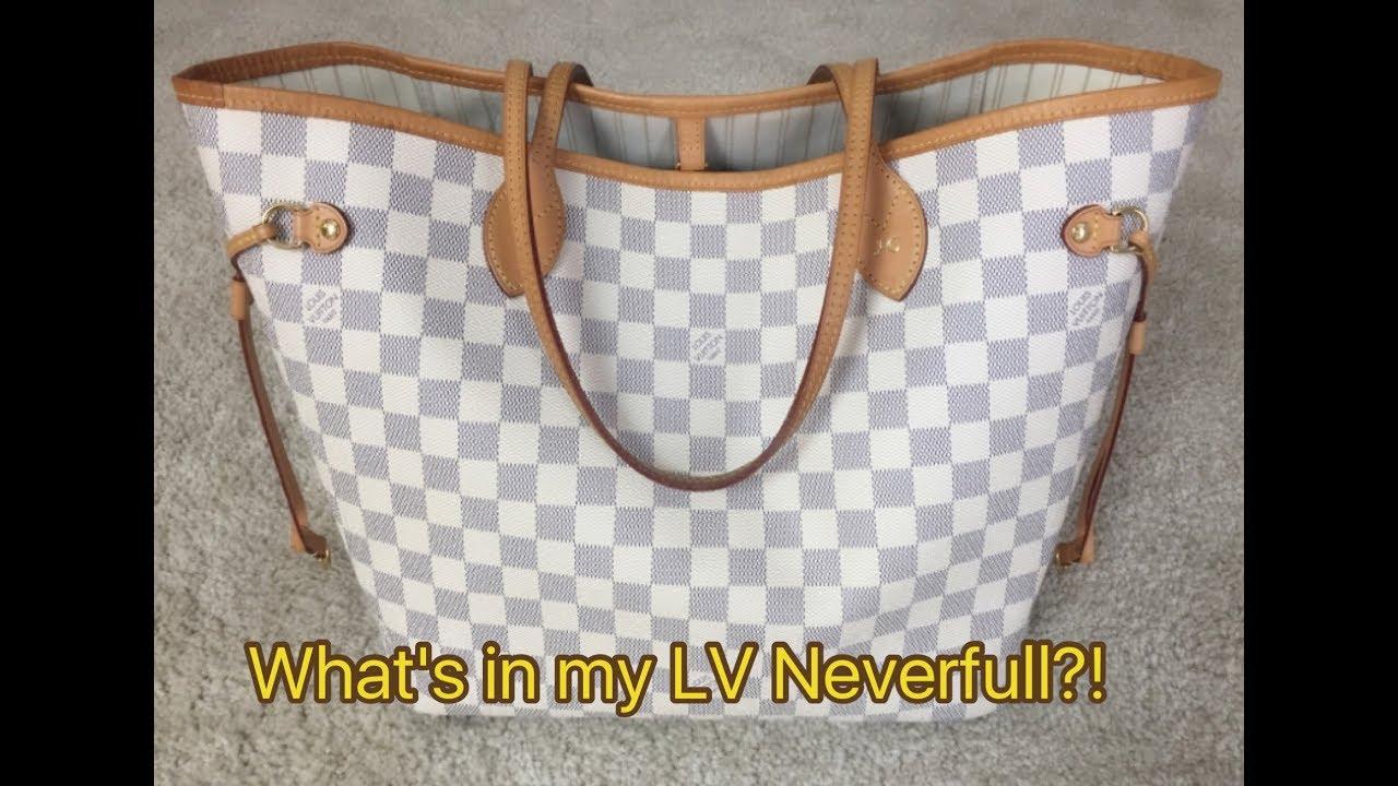 fe20c281740f What s in my Louis Vuitton Neverfull MM - Damier Azur  Designer Handbags