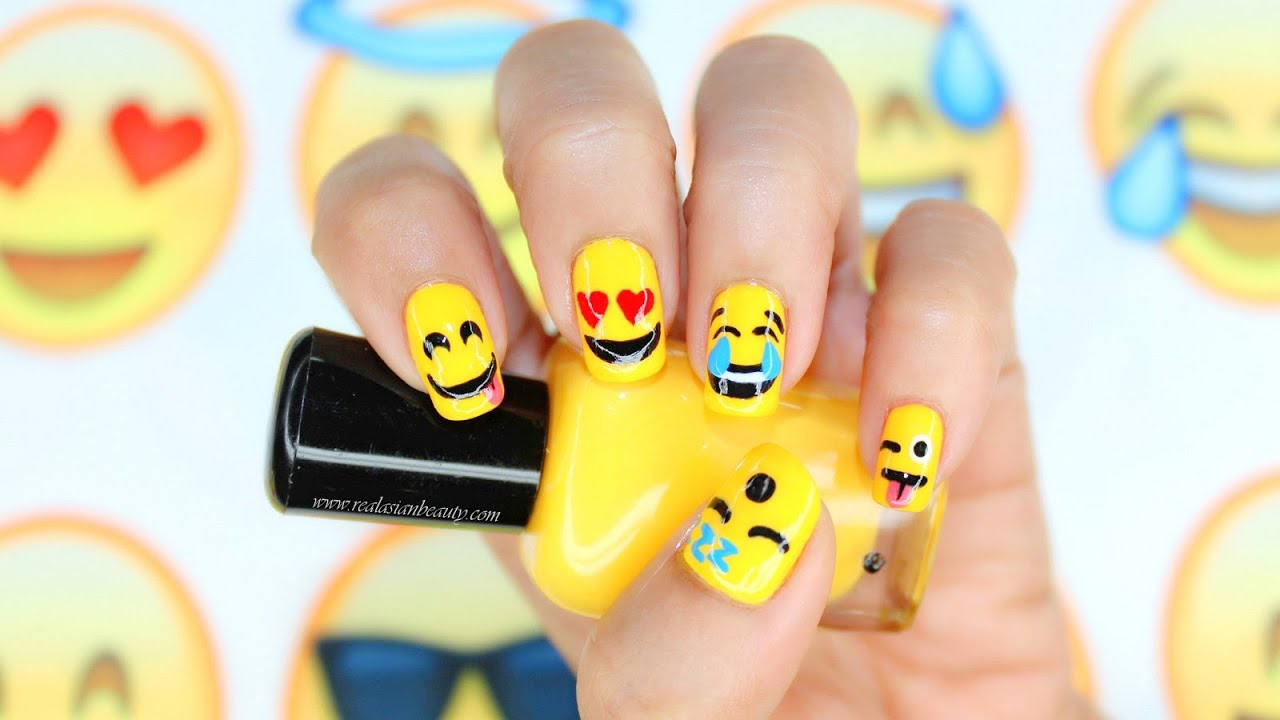 5 Cute EMOJI Nail Art Tutorial ☺ - YouTube