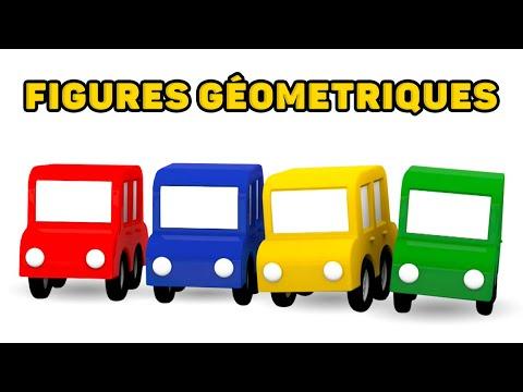 Quatre voitures colorées. Les blocs dans la route. Dessin animé en français