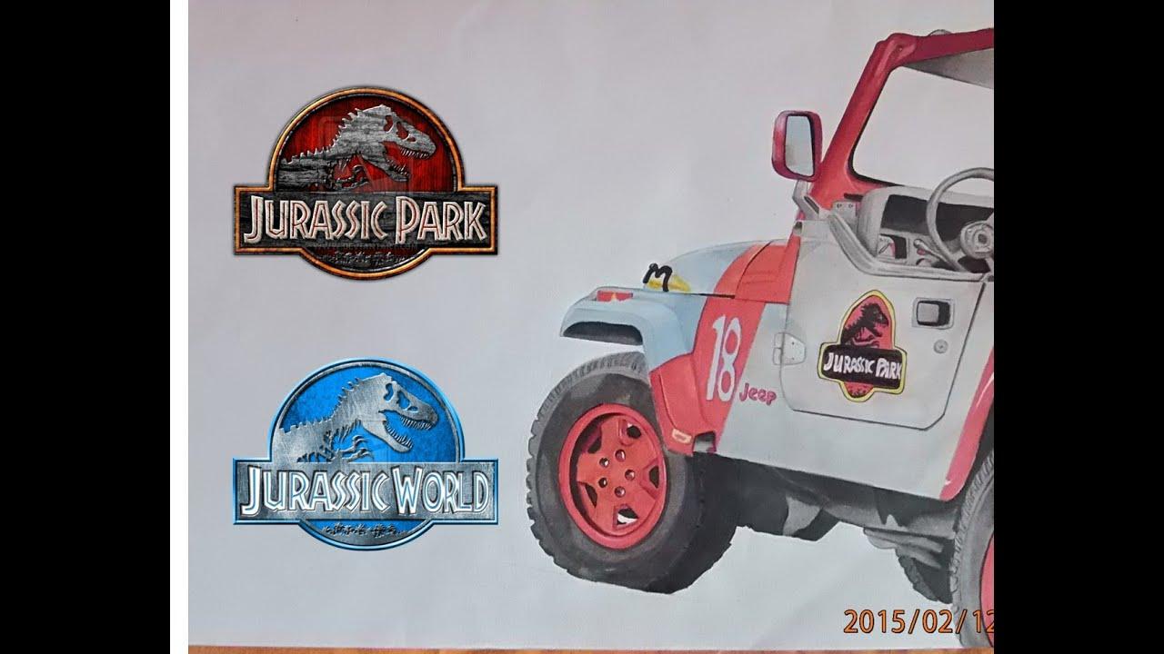 Jurassic World Park Vehicle Drawing Youtube Jeep Wrangler Draw