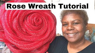 How to Make a Red Rose Deco Mesh Wreath - Step by Step Tutorial