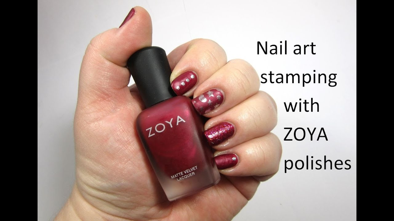 Stamping hearts and stars, with dots design using Zoya polishes ...