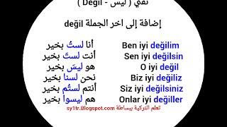 نفي الشيء وأهم الجمل في اللغة التركية شاهد (جديد*)