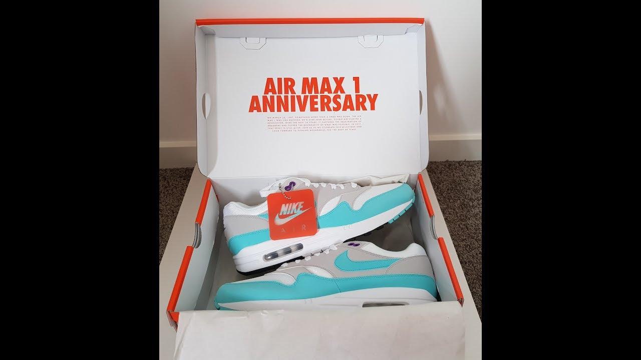 3ff9bd81d4 Unboxing Unpacking NIKE Air Max 1 OG 30th Anniversary AQUA not Obsidian  code 908375 105
