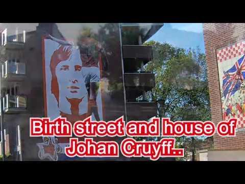 4K . Amsterdam By Bike.  Akkerstraat (Betondorp)   Johan Cruyff      Lived In This Street.