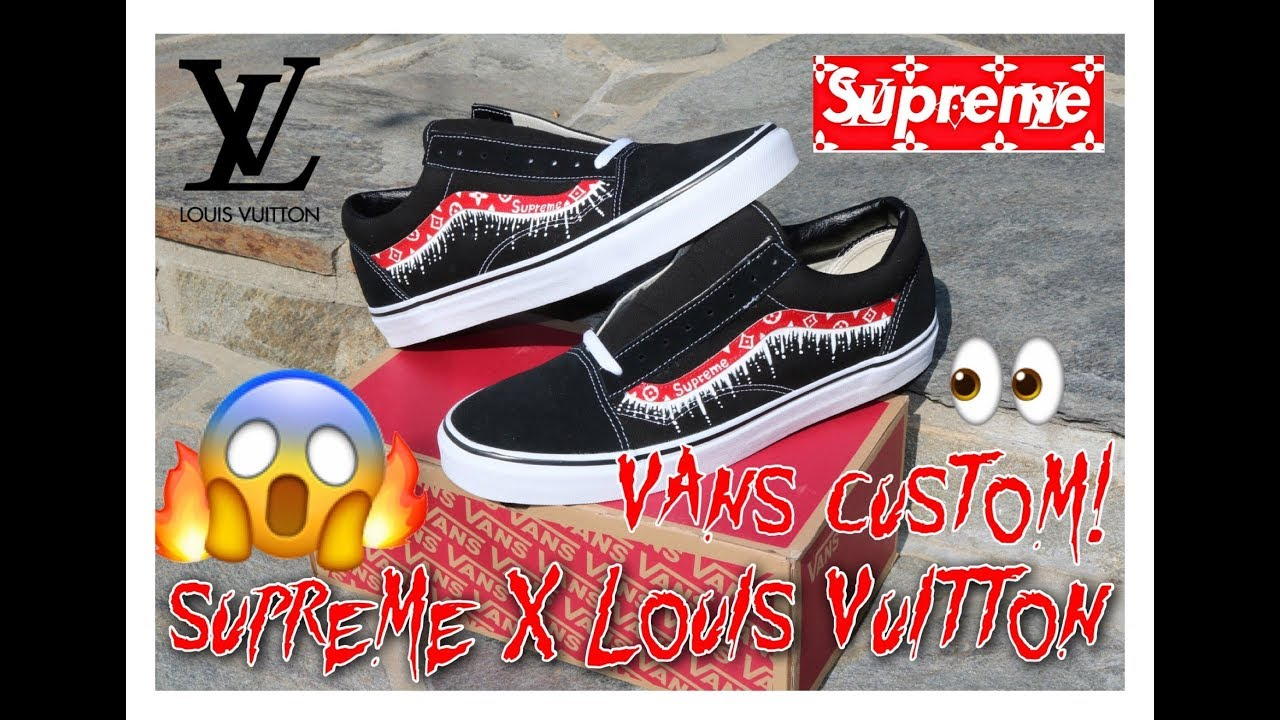 Supreme X Louis Vuitton Old Skool Vans Customs On Feet Review