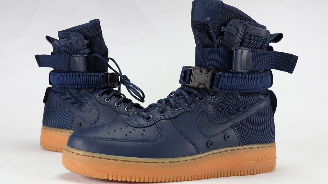 8ce1c5f58e5d NIKE SF AF1 MIDNIGHT NAVY GUM REVIEW - YouTube