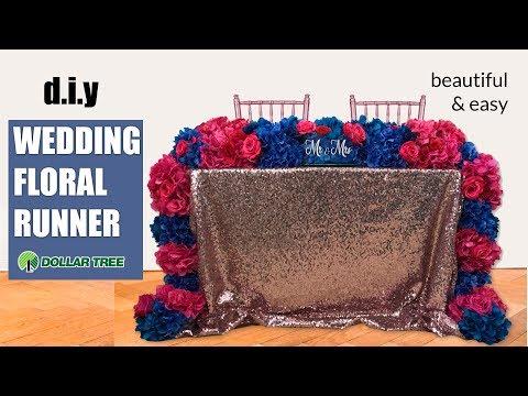 Diy Dollar Tree Wedding Cascading Floral Table Runner - $12