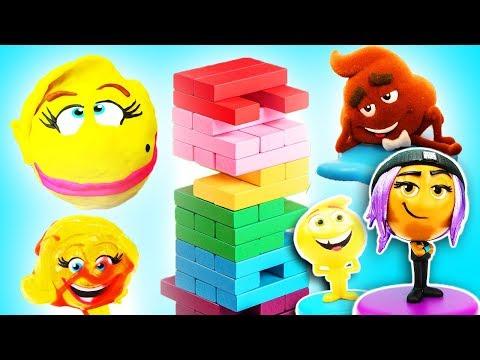 Emoji Movie Jenga Tower Game w Gene, Hi-5, Jailbreak, Drill N Fill Smiler! Learn Colors, Blind Bags!