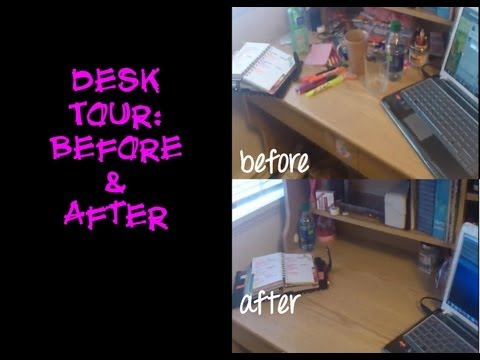 How to organize a small desk: Before & After