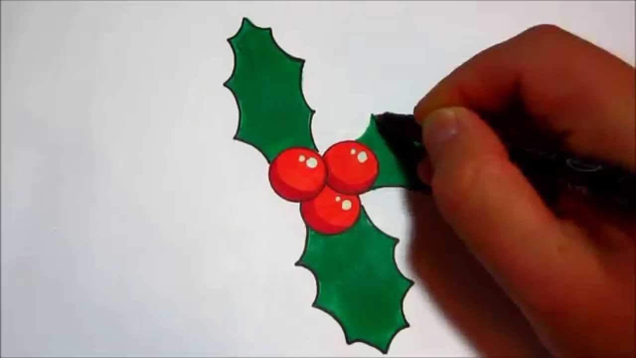 how to draw holly for christmas simple design youtube - Christmas Holly Decorations