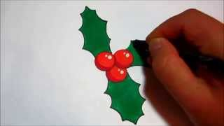 How To Draw Holly For Christmas (Simple Design)
