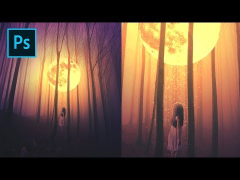 Photoshop Tutorial - Photo Manipulation Fantasy Moon in Forest thumbnail